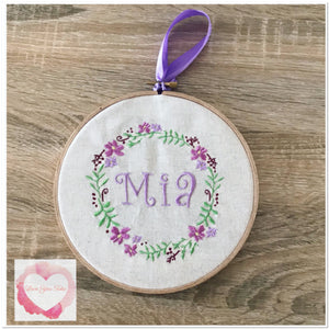 Personalised floral embroidered hoop hanging