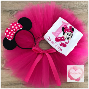 Embroidered Minnie fuchsia tutu set