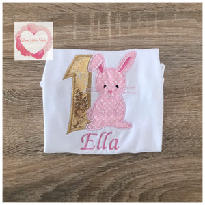 Embroidered Birthday bunny design