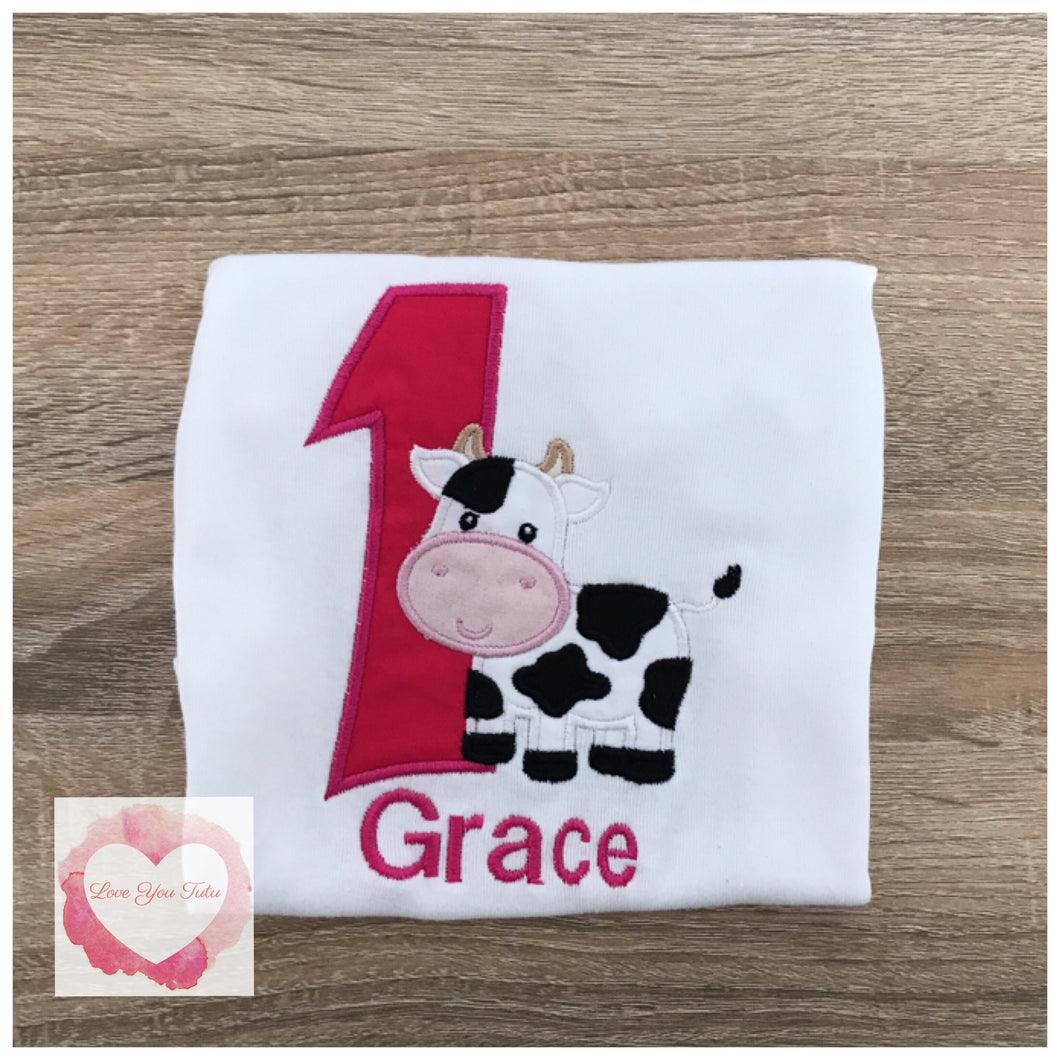 Embroidered numbered cow design