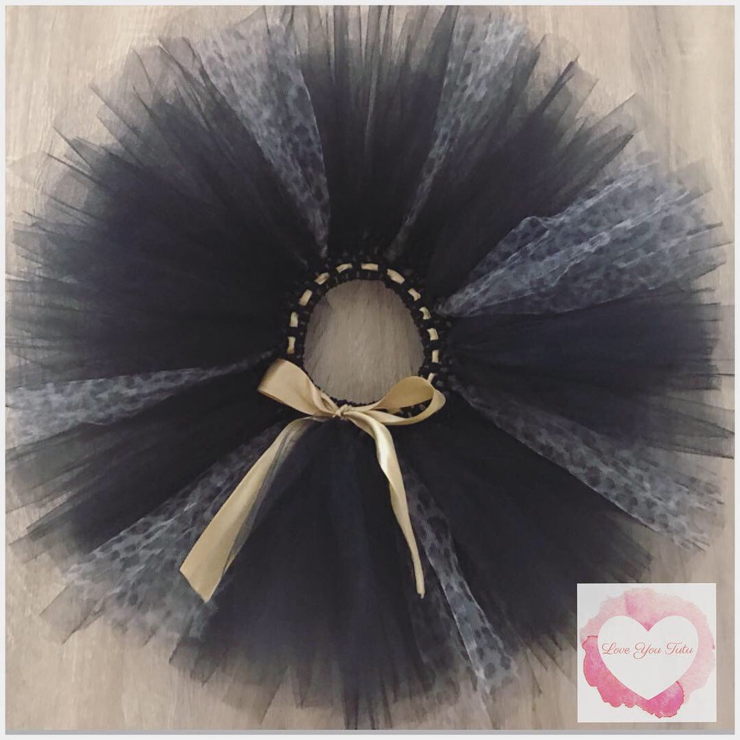 Black leopard short Tutu skirt