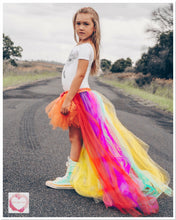 Load image into Gallery viewer, Rainbow train high low Tutu skirt