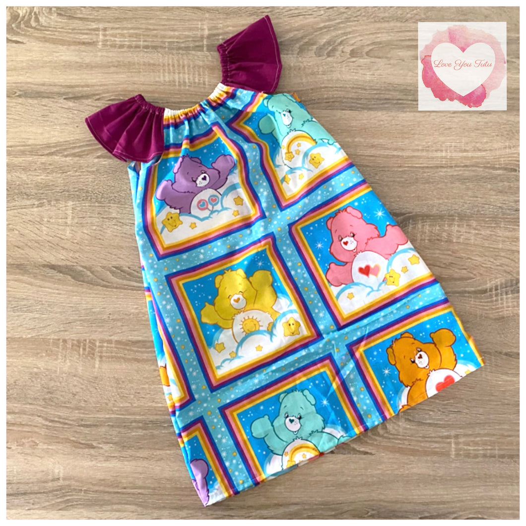 Care Bears flutter sleeve dress size 6- ready to ship