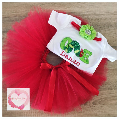 Embroidered Hungry caterpillar one tutu set