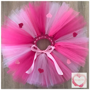 Hearts multi pink short Tutu skirt