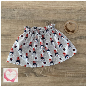 Christmas Penguin paperbag skirt- size 3-4 years -ready to ship