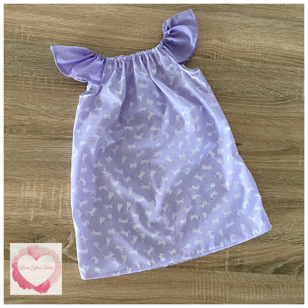 Lavender Easter Bunny Flutter Sleeve dress release