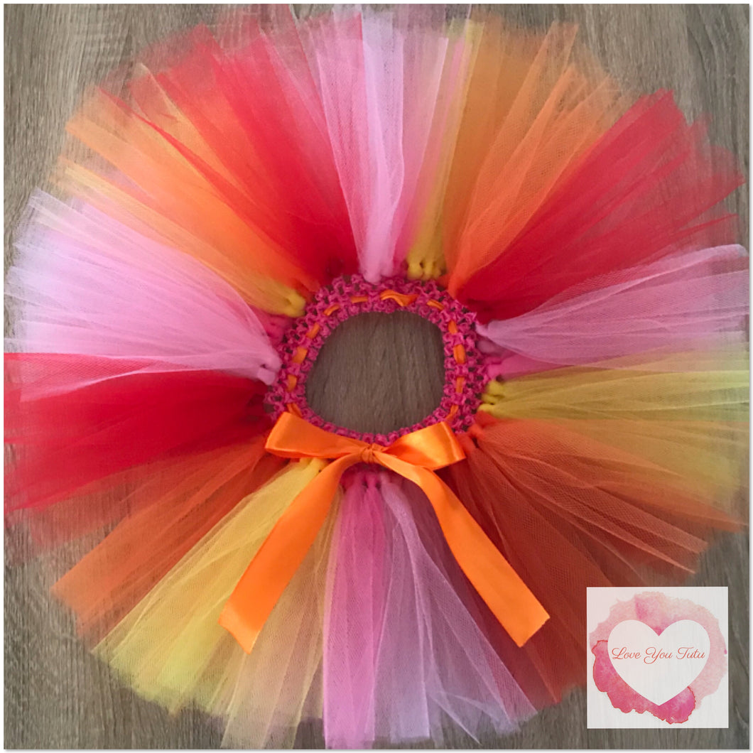 Orange, pink, shocking pink, red & yellow short Tutu skirt