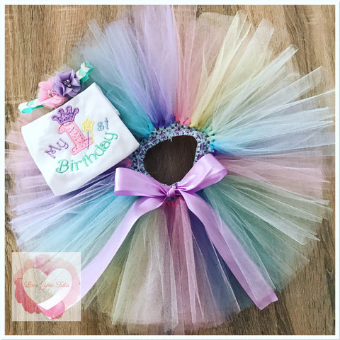 Embroidered pastel My first birthday tutu set