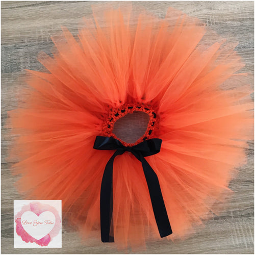 Orange with black ribbon short Tutu skirt