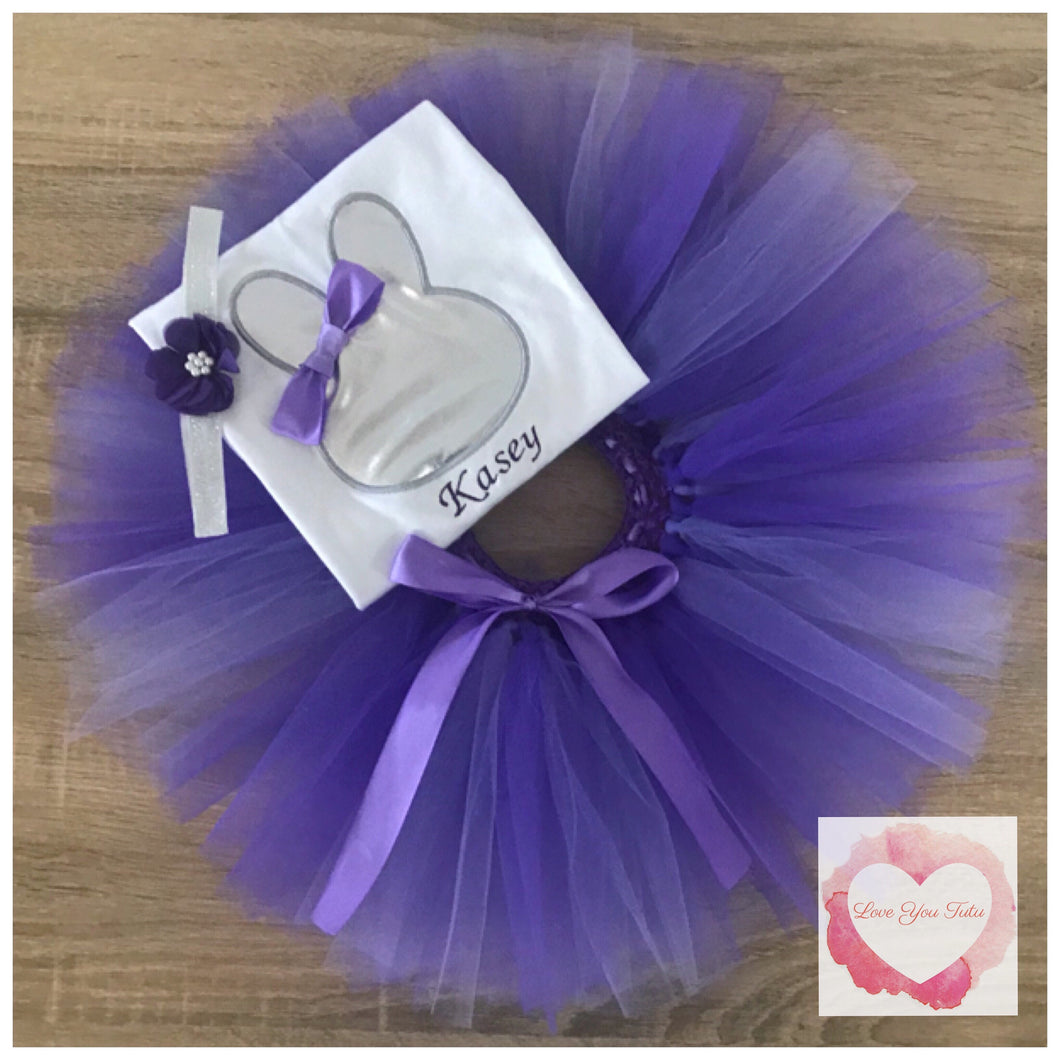 Embroidered purple & silver Easter tutu set