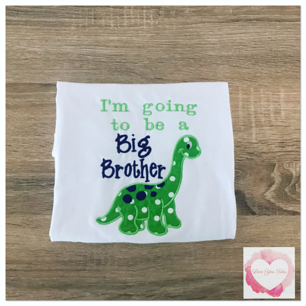 Embroidered Big brother to be dinosaur design