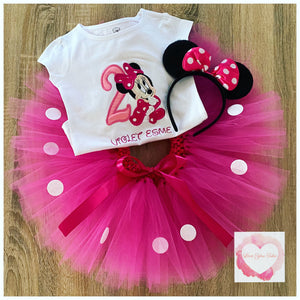 Embroidered Minnie polka dot tutu set