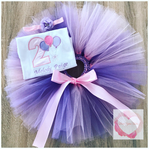 Embroidered 2nd birthday balloon tutu set