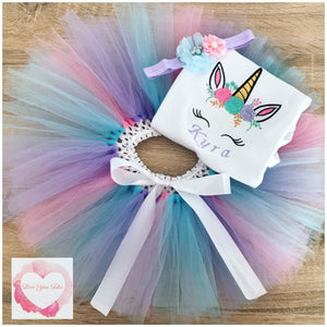 Embroidered Unicorn face baby blue, pink & lavender tutu set