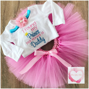 Embroidered daddy's my prince tutu set