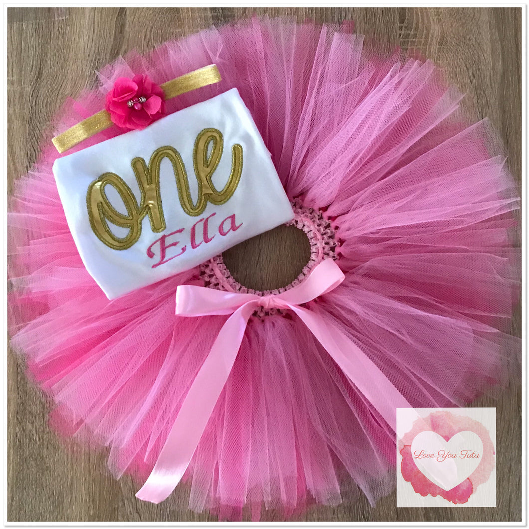 Embroidered one pinks tutu set