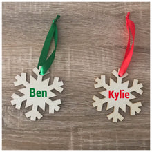 Load image into Gallery viewer, Personalised Snowflake timber tree decoration
