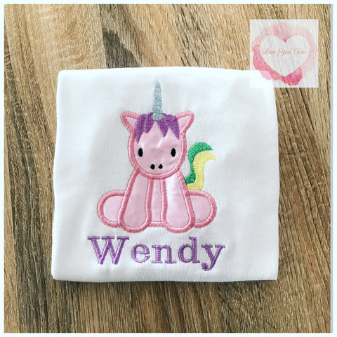 Embroidered unicorn design