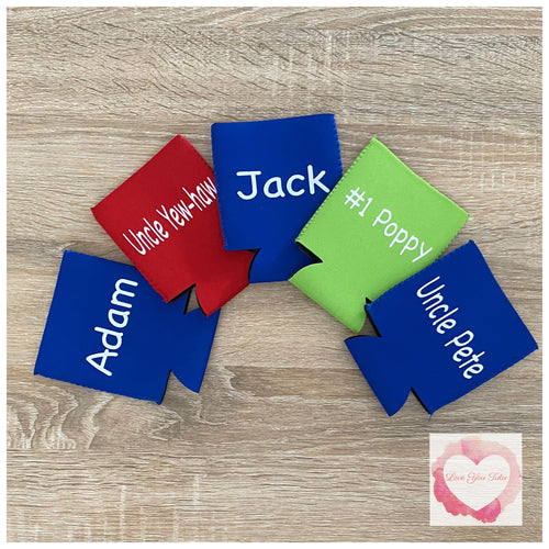 Personalised wording- stubby cooler holders
