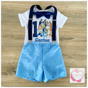 Bluey birthday shorts 3 piece set
