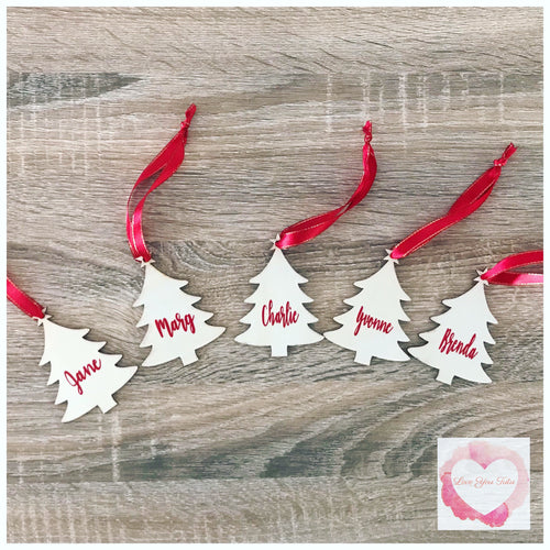 Personalised timber Christmas tree decoration
