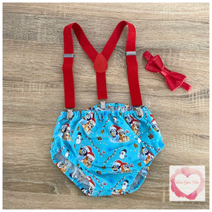 Bluey Christmas suspender set size 0-ready to ship