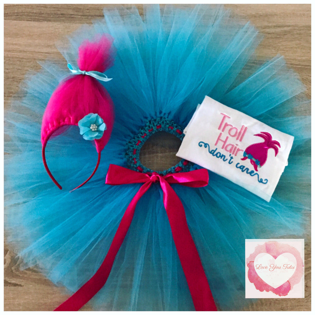 Embroidered Troll hair trolls tutu set