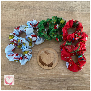 The Grinch Christmas scrunchies