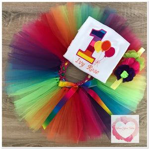Embroidered rainbow balloon tutu set