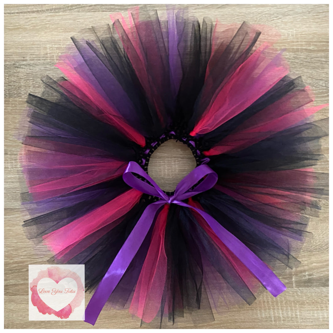 Black, purple & fuchsia short Tutu skirt