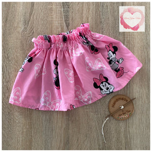 Pink Minnie Mouse paperbag skirt- size 7-8 years -ready to ship