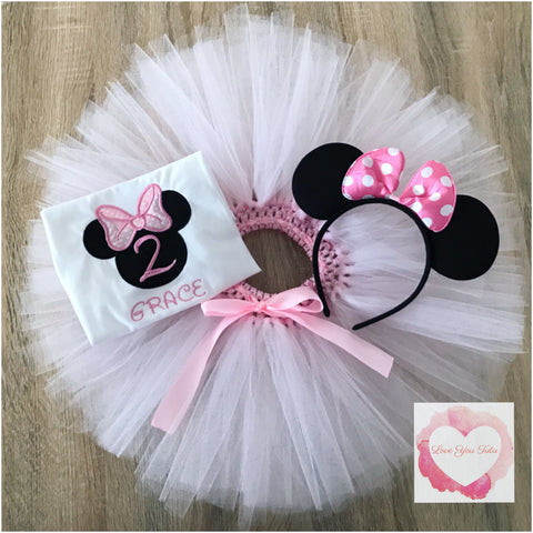 Embroidered Minnie head (baby pink) tutu set