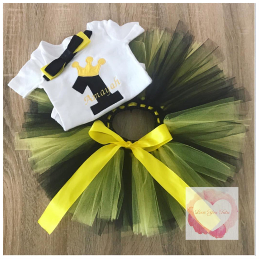 Embroidered princess black and yellow numbered tutu set