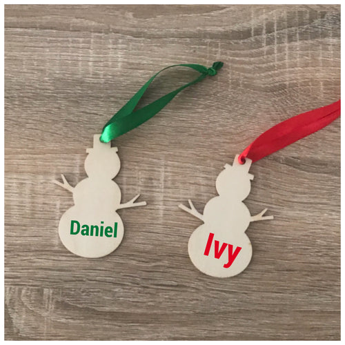 Personalised Snowman timber tree decoration