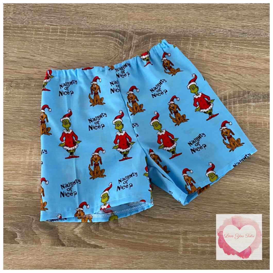 The Grinch Christmas shorts size 2 - ready to ship