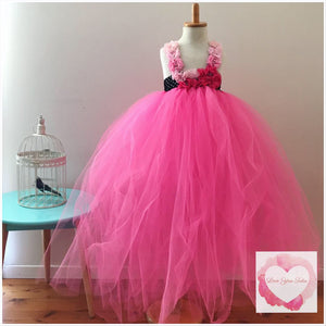 Shocking pink full length girls Tutu dress 1/4 bodice