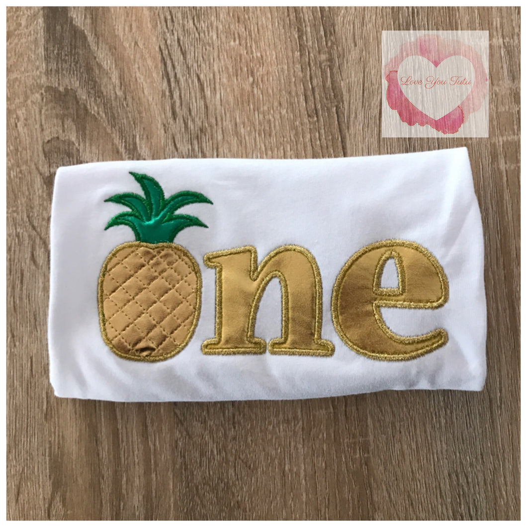 Embroidered Gold pineapple one design