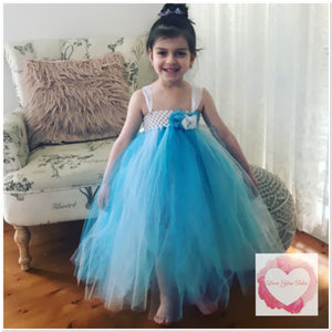 Blues full length girls Tutu dress 1/4 bodice