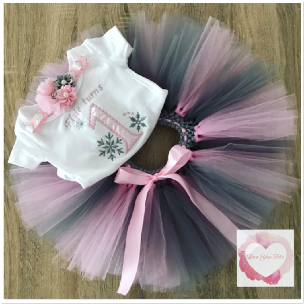 Embroidered Winter snowflake 1 tutu set