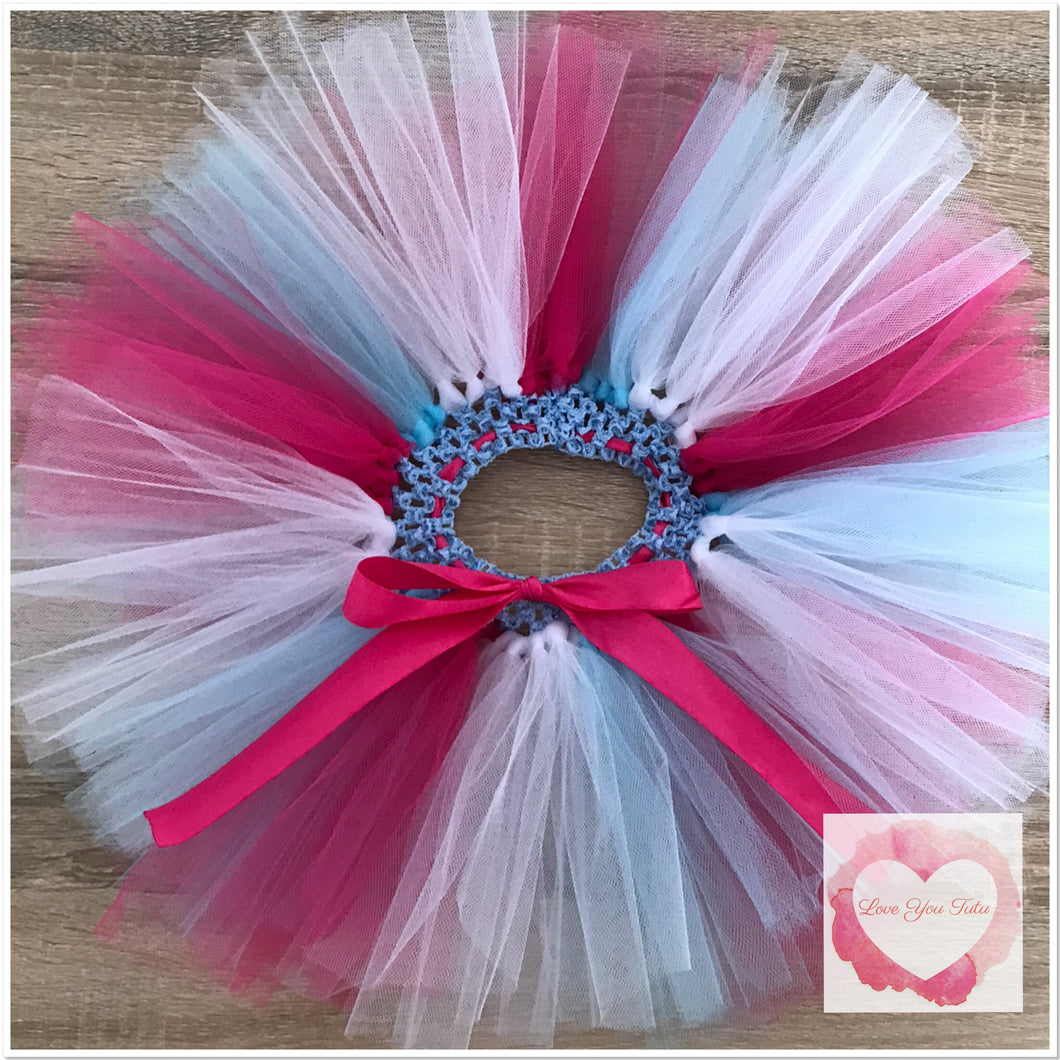 Baby blue, white & fuchsia short Tutu skirt