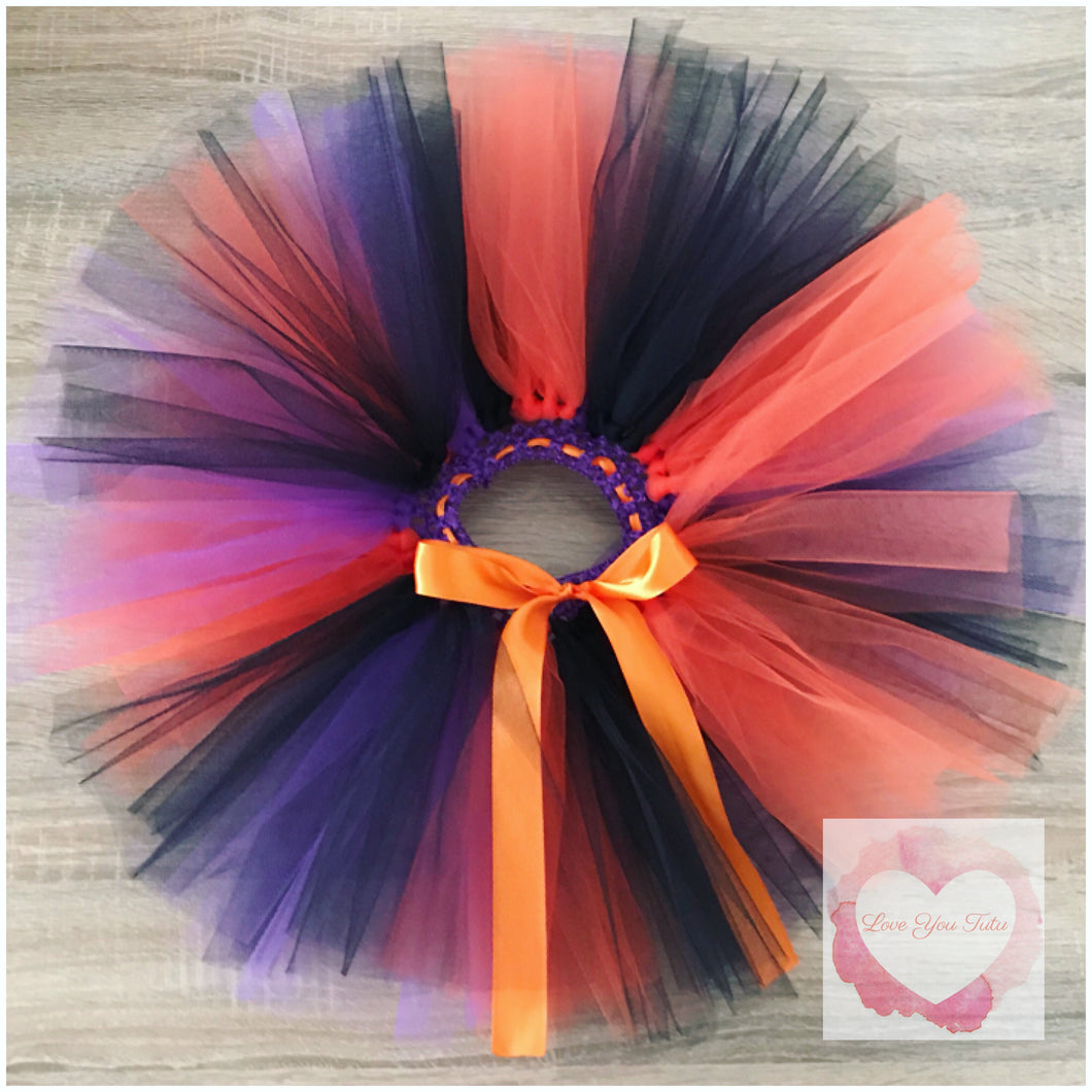 Halloween purple, orange & black short Tutu skirt
