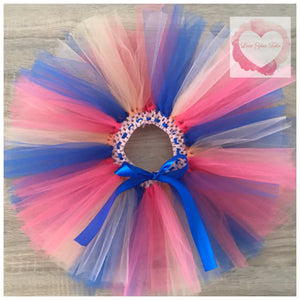 Peach, coral & royal blue short Tutu skirt