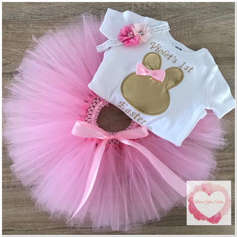 Embroidered pink & gold Easter tutu set