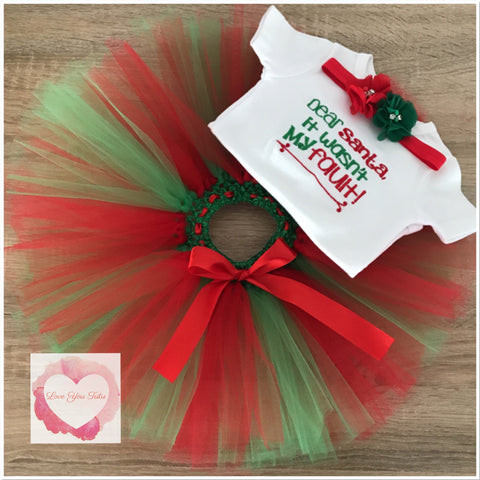 Embroidered dear Santa tutu set