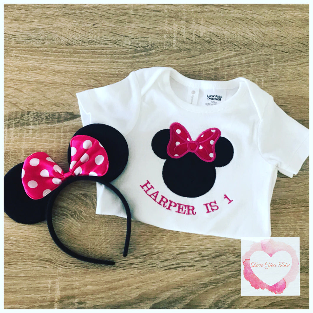 Embroidered Minnie Mouse head (pink) design