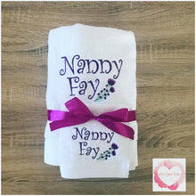 Load image into Gallery viewer, Embroidered personalised Nan towel set