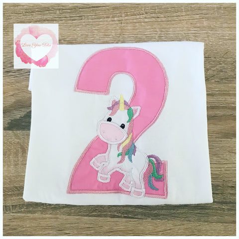 Embroidered unicorn numbered design