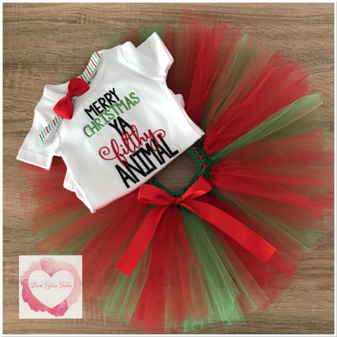 Embroidered Christmas animal tutu set