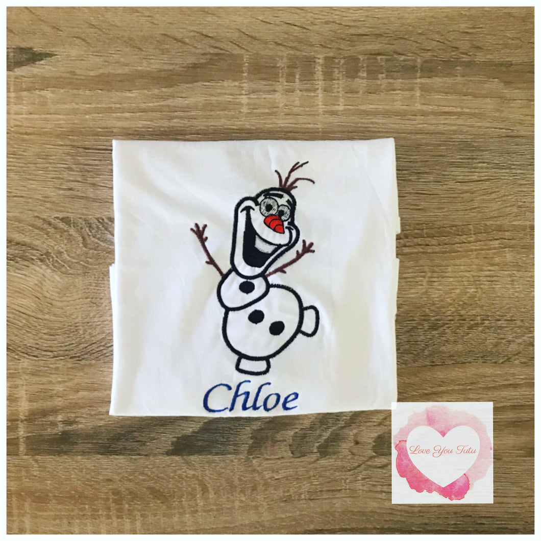 Embroidered Frozen Olaf design